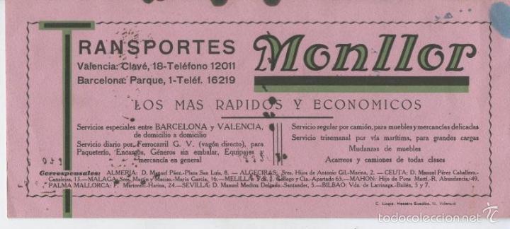 SECANTE DE TRANSPORTES MONLLOR AOS 30 (Coleccionismo - Laminas, Programas y Otros Documentos)