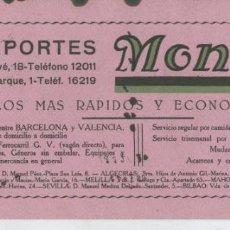 Coleccionismo: SECANTE DE TRANSPORTES MONLLOR AOS 30. Lote 56228143