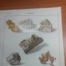 Coleccionismo: LAMINA -- MINERALES EN DICCIONARIO ANTIGUO --AÑO 1912- (REF BF) 24.5 X 15,5 CM. Lote 56238833