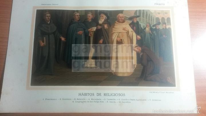 HABITO RELIGIOSO RELIGION - LAMINA DE DICCIONARIO ANTIGUO --AÑO 1912- (REF BF) 24.5 X 15,5 CM (Coleccionismo - Laminas, Programas y Otros Documentos)