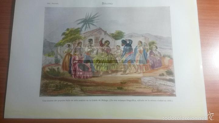 BOLERO , CALETA DE MALAGA - LAMINA DE DICCIONARIO ANTIGUO --AÑO 1912- (REF BF) 24.5 X 15,5 CM (Coleccionismo - Laminas, Programas y Otros Documentos)