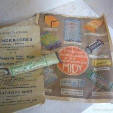 Antiguo Envase de Pomada Anti Hemorroides Midy. Con Prospecto y Publicidad.