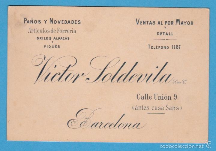 VÍCTOR SOLDEVILA. PAÑOS Y NOVEDADES. BARCELONA TARJETA COMERCIAL, S/F (Coleccionismo - Laminas, Programas y Otros Documentos)