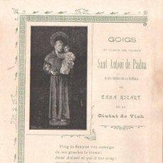 Coleccionismo: GOIGS DE SANT ANTONI DE PADUA DE CASA RICART EN VICH (IMP. AUSETANA, 1903). Lote 56650377
