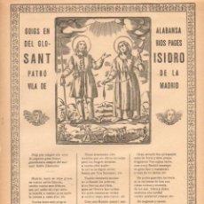 Coleccionismo: GOIGS EN ALABANSA DEL GLORIÓS PAGÉS SANT ISIDRO PATRÓ DE LA VILA DE MADRID (H. DE VDA. PLA, C. 1900). Lote 56653993