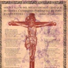 Coleccionismo: GOIGS A LLAOR DEL MIRACULÓS SANT CRIST DE PONT D'ARMENTERA (TIP. SALLENT, SABADELL, 1935). Lote 56660448