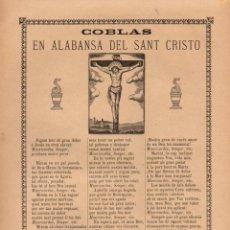 Coleccionismo: GOIGS COBLAS EN ALABANSA DEL SANT CRISTO (H. DE LA V. PLA, 1909). Lote 56660460