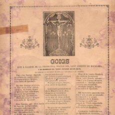 Coleccionismo: GOIGS A LLAHOR DE LA PRODIGIOSA IMATGE DEL SANT CHRISTO DE IGUALADA (IMP. PONCELL, C. 1900). Lote 56660506