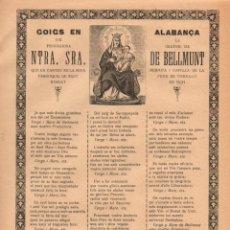 Coleccionismo: GOIGS EN ALABANÇA DE NTRA. SRA. DE BELLMUNT - TORELLÓ (IMP. ANGLADA, VICH, C. 1900). Lote 56661540