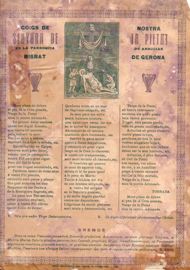 GOIGS DE NOSTRA SENYORA DE LA PIETAT DE ARBUCIAS (IMP. STA COLOMA DE FARNÉS, C. 1900) (Coleccionismo - Laminas, Programas y Otros Documentos)