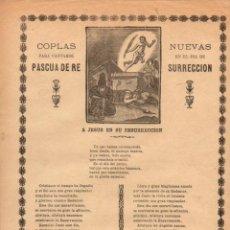 Coleccionismo: GOIGS COPLAS NUEVAS PARA CANTARSE EN EL DÍA DE PASCUA DE RESURRECIÓN (IMP. PUIGBLANQUER GERONA 1910). Lote 56666389