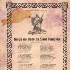 Coleccionismo: GOIGS EN LLAOR DE SANT PANCRÁS (IMP. ALTÉS,C. 1900). Lote 56666457