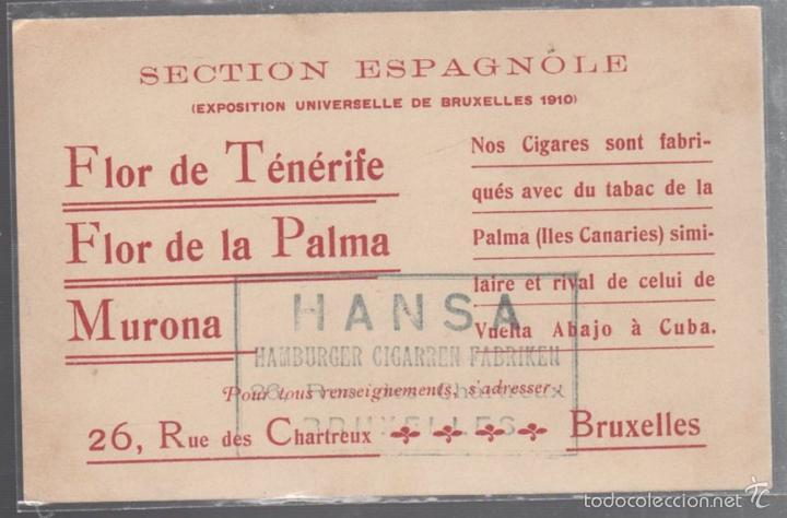 EXPOASICION UNIVERSAL DE BRUSELAS. 1910. POSTAL PUBLICITARIA DE TABACO DE CANARIAS. VER (Coleccionismo - Objetos para Fumar - Otros)