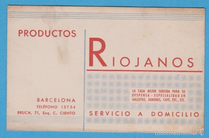 PRODUCTOS RIOJANOS. TARJETA COMERCIAL. BARCELONA, S/F (Coleccionismo - Laminas, Programas y Otros Documentos)