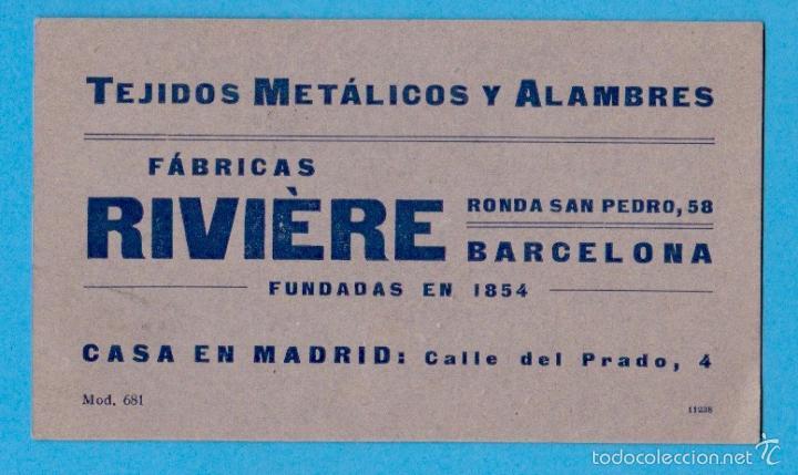 FÁBRICAS RIVIÈRE. TEJIDOS METÁLICOS Y ALAMBRES. TARJETA COMERCIAL. BARCELONA, S/F (Coleccionismo - Laminas, Programas y Otros Documentos)