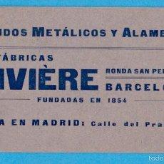 Coleccionismo: FÁBRICAS RIVIÈRE. TEJIDOS METÁLICOS Y ALAMBRES. TARJETA COMERCIAL. BARCELONA, S/F. Lote 56694293