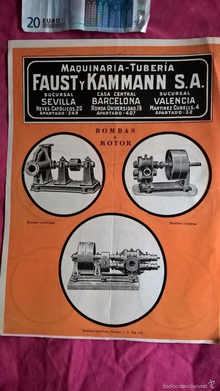 PUBLICIDAD ANTIGUA DE BOMBAS A MOTOR Y BOMBAS A MANO. FAUST Y KAMMANN (Coleccionismo - Laminas, Programas y Otros Documentos)
