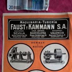 Coleccionismo: PUBLICIDAD ANTIGUA DE BOMBAS A MOTOR Y BOMBAS A MANO. FAUST Y KAMMANN. Lote 56724568