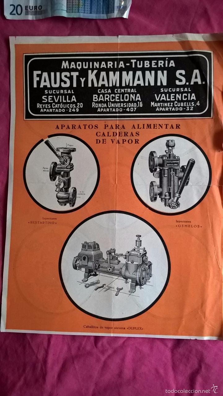 PUBLICIDAD ANTIGUA DE APARATOS Y ACCESORIOS PARA CALDERAS Y APARATOS DE VAPOR. FAUST Y KAMMANN (Coleccionismo - Laminas, Programas y Otros Documentos)