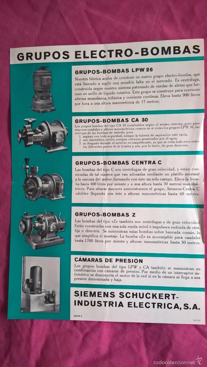 SIEMENS. ANTIGUA PUBLICIDAD DE GRUPOS ELECTRO-BOMBAS (Coleccionismo - Laminas, Programas y Otros Documentos)