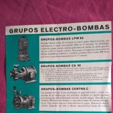 Coleccionismo: SIEMENS. ANTIGUA PUBLICIDAD DE GRUPOS ELECTRO-BOMBAS. Lote 56725224