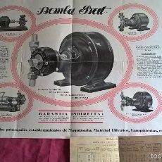 Coleccionismo: BOMBA PRAT PARA AGRICULTURA. ANTIGUA PUBLICIDAD Y NOTA DE PRECIOS. AÑOS 20. Lote 56725510
