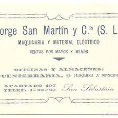 Sammelleidenschaft Papier - San Sebastián. Antigua tarjeta de visita. Maquinaria y material eléctrico - 56799160