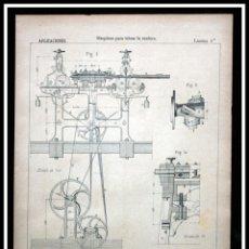 Coleccionismo: 1887 - MAQUINAS PARA LABRAR LA MADERA- LÁMINA GRABADA - ORIGINAL . Lote 56869574