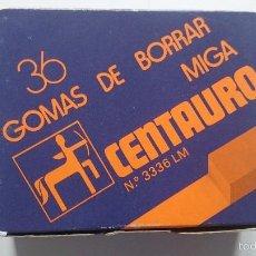 Coleccionismo: CAJA COMPLETA CON 36 GOMAS DE BORRAR CENTAURO SIN ESTRENAR LM 3336 LM MIGA. Lote 56901027
