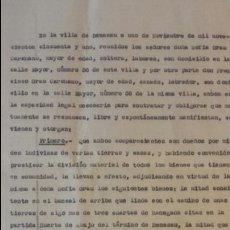 Coleccionismo: DOCUMENTO PRIVADO DE DIVISIÓN DE BIENES - BENASAU 1951- EN PAPEL CON MARCA DE AGUA LÁ GELIDENSE. Lote 56926605