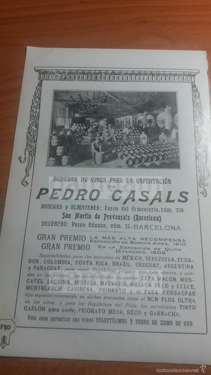 SAN MARTIN DE PROVENSALS BARCELONA, BODEGAS DE VINO PEDRO CASALS -ANUNCIO DEL AÑO 1911- (REFAN20)** (Coleccionismo - Laminas, Programas y Otros Documentos)