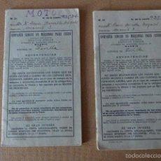 Coleccionismo: LOTE DE LIBRETAS DE CUPONES DE MAQUINAS DE COSER SINGER. PERIODO GUERRA CIVIL. MAS DE 200 CUPONES . Lote 57088344