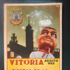 Coleccionismo: ANTIGUO PROGRAMA OFICIAL FIESTAS DE LA VIRGEN BLANCA VITORIA 1955 FOURNIER. Lote 57116279