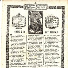 Coleccionismo: GOZOS A LA SANTÍSIMA TRINIDAD IMPRENTA PABLO ROCA DE MANRESA ---1848----. Lote 57165736