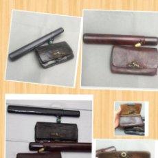 Coleccionismo: TABACO MUDO- ZUTSU. , KISERU, BOLSA TABACO JAPONES CON FUNDA DE PIPAS. Lote 57332907