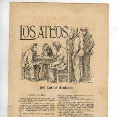 Coleccionismo: AÑO 1925 RECORTE PRENSA GUION OBRA TEATRO LOS ATEOS CARLOS ARNICHES ILUSTRACION CALDERE DIBUJO. Lote 57349498