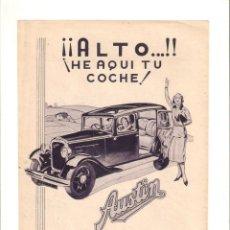 Coleccionismo: AÑO 1934 RECORTE PRENSA PUBLICIDAD AUTOMOVIL COCHE AUSTIN GUTIERREZ DEL RIO BILBAO. Lote 57498659