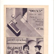 Coleccionismo: AÑO 1934 RECORTE PRENSA PUBLICIDAD BOINAS ELOSEGUI TOLOSA DECUS MUEBLES DECORACION VITORIA. Lote 57498686