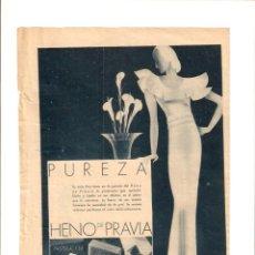 Coleccionismo: AÑO 1934 RECORTE PRENSA PUBLICIDAD PASTILLA DE JABON HENO DE PRAVIA PUREZA PERFUMERIA GAL LISTERINE. Lote 57512374