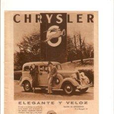 Coleccionismo: AÑO 1934 RECORTE PRENSA PUBLICIDAD CHRYSLER AUTOMOVIL COCHE. Lote 57564157