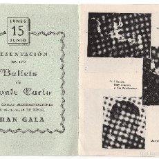 Coleccionismo: ANTIGUO PROGRAMA DE TEATRO DE LA ZARZUELA - PRESENTACIÓN DE LOS BALLETS DE MONTE CARLO. Lote 57610104