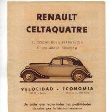 Coleccionismo: AÑO 1934 RECORTE PRENSA PUBLICIDAD RENAULT CELTAQUATRE COCHE AUTOMOVIL. Lote 57616392