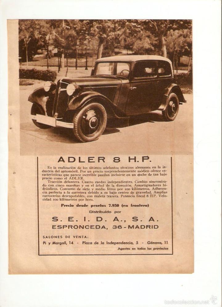 AÑO 1934 RECORTE PRENSA PUBLICIDAD COCHE AUTOMOVIL ADLER 8 H P (Coleccionismo - Laminas, Programas y Otros Documentos)