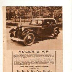 Coleccionismo: AÑO 1934 RECORTE PRENSA PUBLICIDAD COCHE AUTOMOVIL ADLER 8 H P. Lote 57832442
