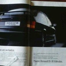 Coleccionismo: PUBLICIDAD AUTOMOVIL RENAULT 19 16 VÁLVULAS DE 1990. Lote 156982186