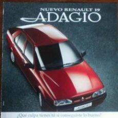 Coleccionismo: PUBLICIDAD AUTOMOVIL RENAULT 19. Lote 57852744