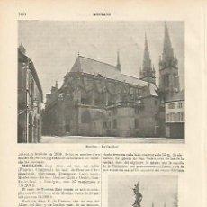 Coleccionismo: LAMINA ESPASA 8851: CATEDRAL DE MOULINS FRANCIA. Lote 57902112