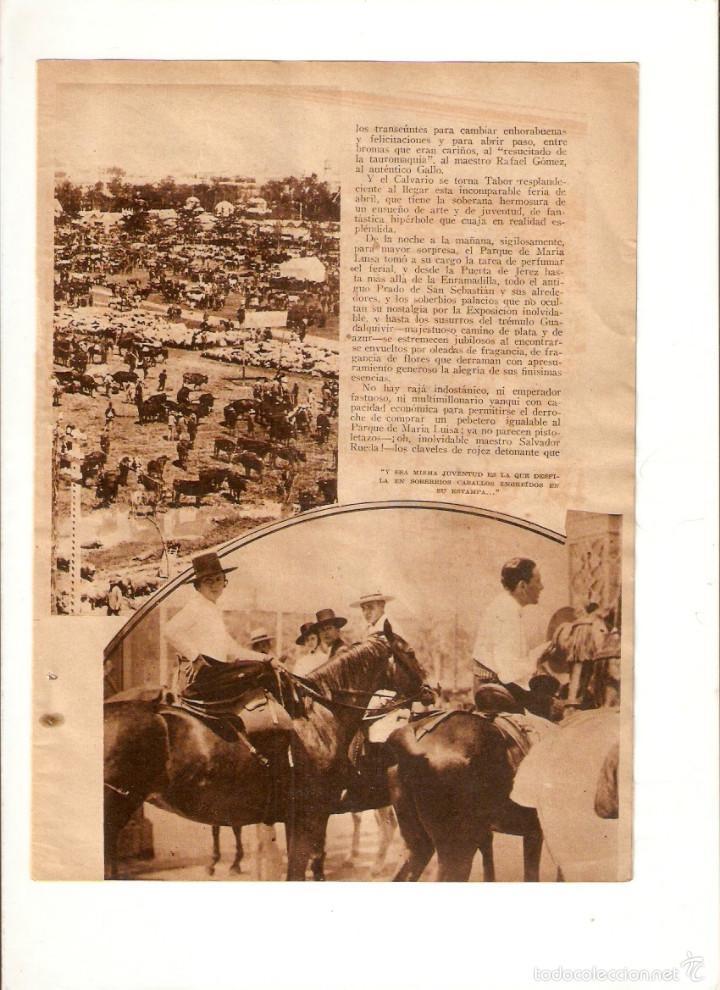 Coleccionismo: AÑO 1934 RECORTE PRENSA LA FERIA DE ABRIL SEVILLA - Foto 2 - 57927180