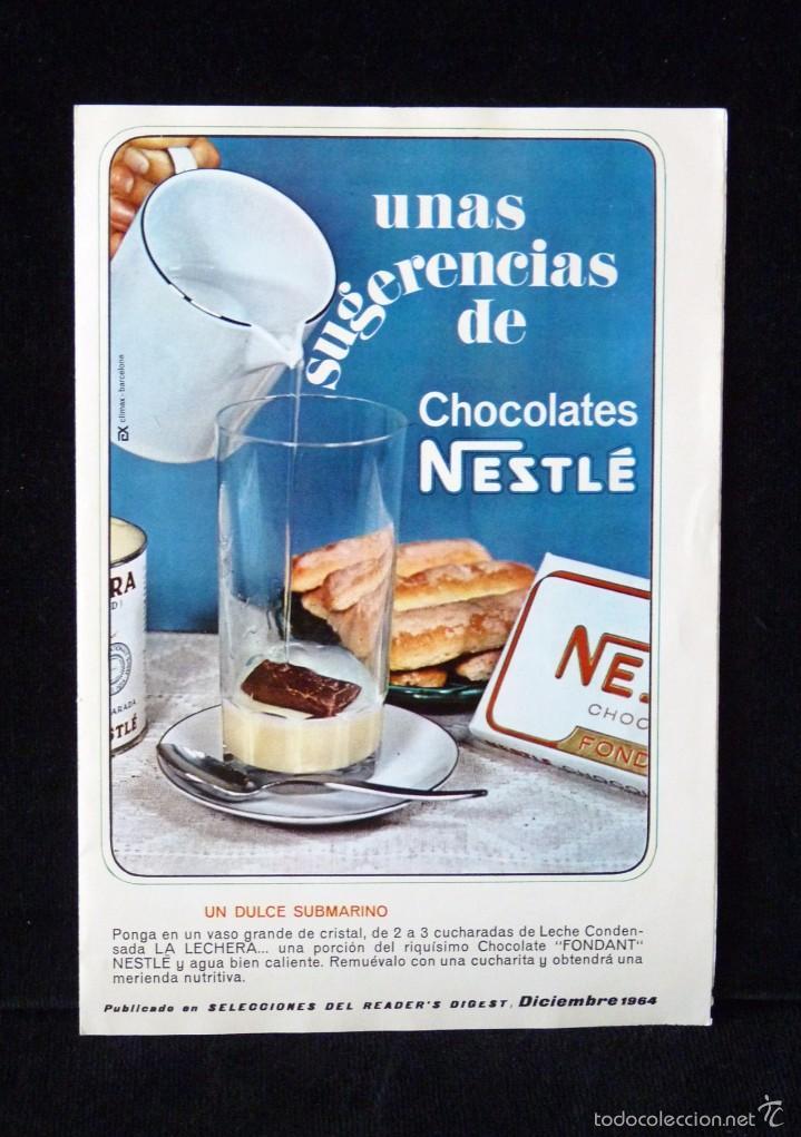 NESTLÉ. RECETAS. UNAS SUGERENCIAS DE CHOCOLATES. SELECCIONES DEL READER'S DIGEST. DICIEMBRE 1964 (Coleccionismo - Varios)