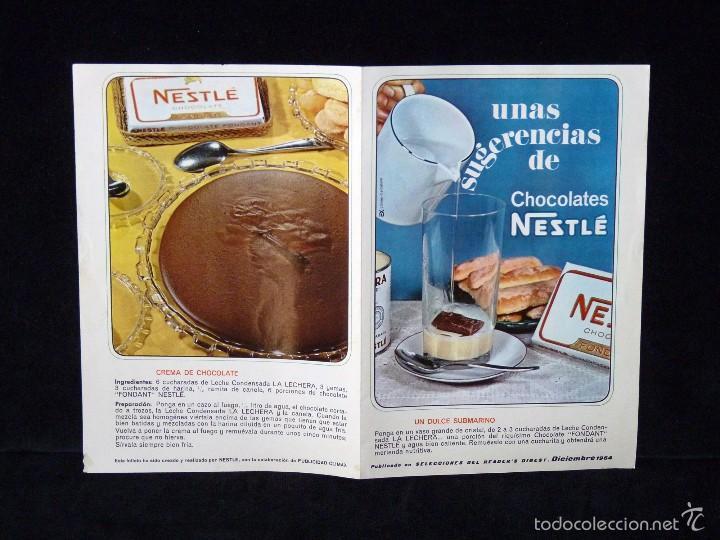 Coleccionismo: NESTLÉ. RECETAS. UNAS SUGERENCIAS DE CHOCOLATES. SELECCIONES DEL READERS DIGEST. DICIEMBRE 1964 - Foto 3 - 57966317